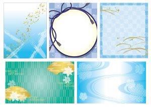 夏の水色和風柄